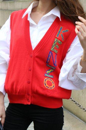 【vintage】KENZO / big logo V neck vest