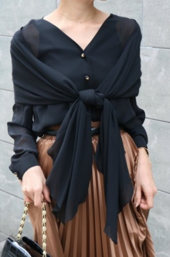 【vintage】CELINE / macadom button shawl docking silk blouse