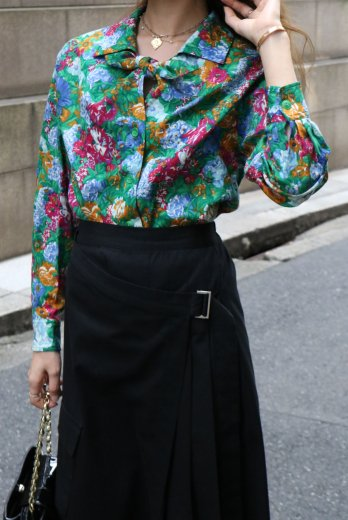 【vintage】KENZO / front tie floral wool blouse