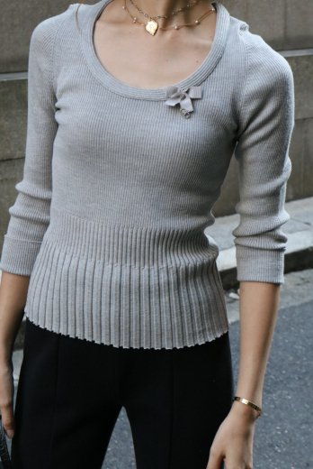 【vintage】Christian Dior / linestone logo charm compact rib knit tops