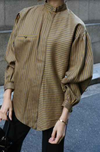 【vintage】Christian Dior / stand collar fly front button stripe blouse