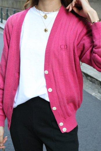 【vintage】Christian Dior / logo embroidery rib knit cardigan