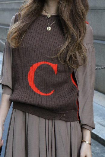 【vintage】Christian Dior / big logo bicolor rib knit vest