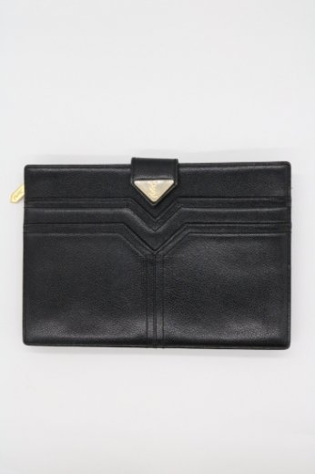 【vintage】Yves Saint Laurent / YSL logo leather clutch bag
