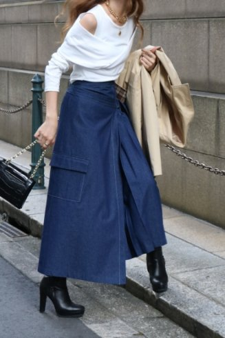 side pleats asymmetry wrap skirt / denim