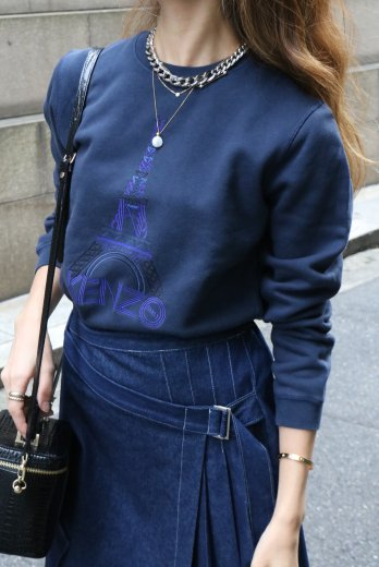 【vintage】KENZO / logo tower embroidery sweat shirt