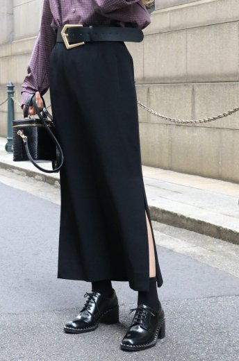 【vintage】Yves Saint Laurent / side slit tucking long skirt