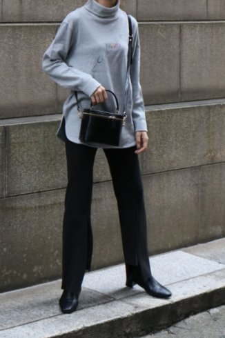 【vintage】KENZO / multi color logo turtle neck rib knit tops