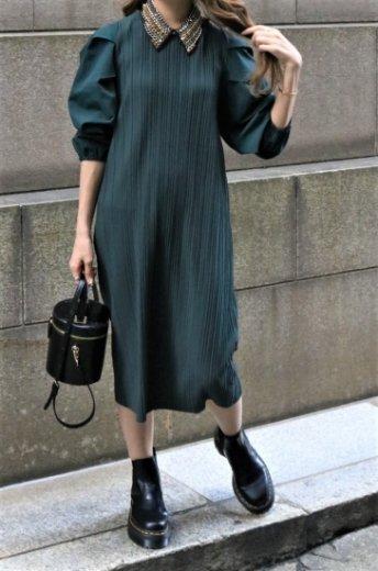 nylon sleeves docking pleats dress / green
