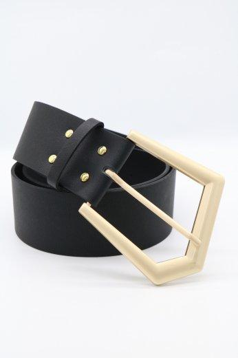 pentagon cut buckle fake leather belt