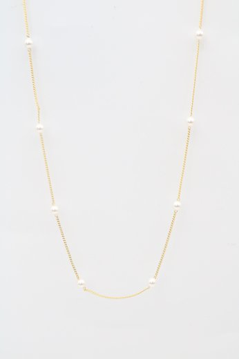 pearl flat link chain necklace