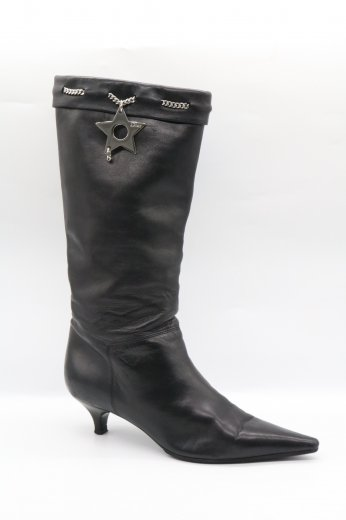 【vintage】Christian Dior / logo star charm pointed toe heel boots