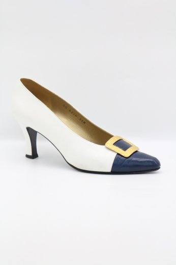 【vintage】Yves Saint Laurent / square buckle decoration bicolor pumps