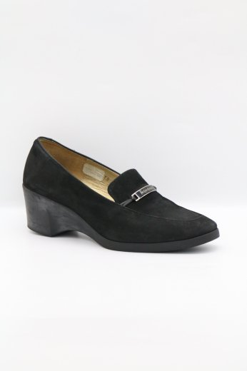 【vintage】Yves Saint Laurent / logo plate suede wedge sole pumps