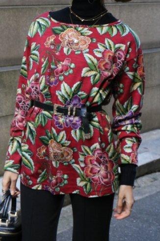【vintage】KENZO / boat neck floral tops