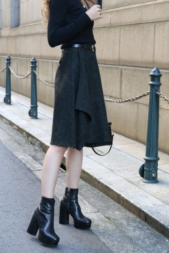 【vintage】KENZO / side frill wool skirt