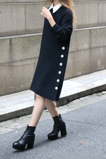 【vintage】2way collar side button long dress