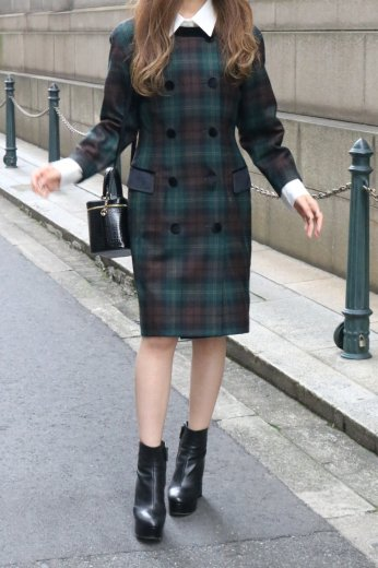 【vintage】90's tartan check no collar dress