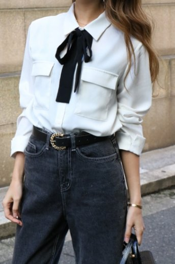 2way front ribbon tie double flap pocket blouse