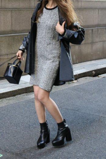 【vintage】Yves Saint Laurent / herringbone pattern wool knit sack dress