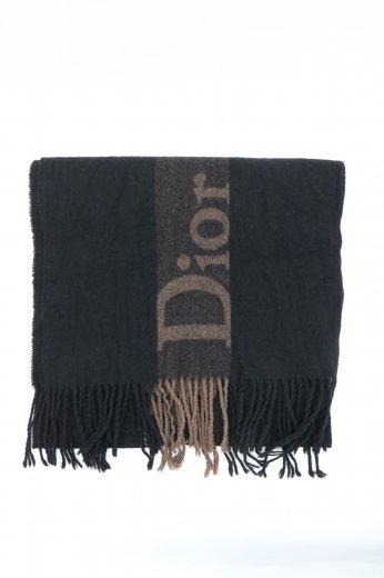 【vintage】Christian Dior / logo monogram fringe cashmere mix muffler