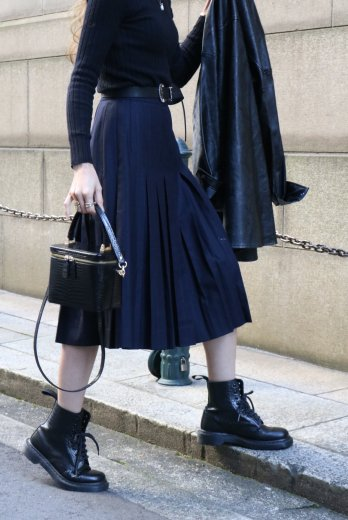【vintage】GIVENCHY / stripe box pleats wool skirt