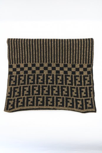 【vintage】FENDI / zucca & stripe wool muffler