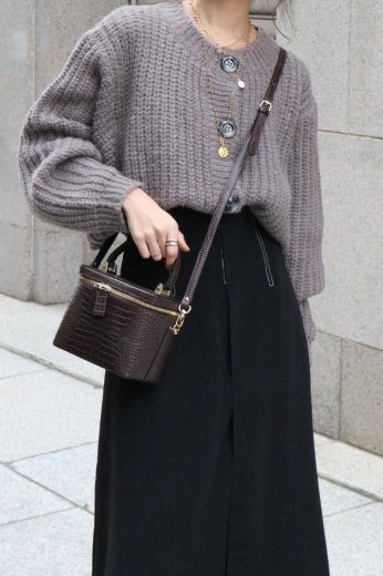 marble button volume sleeves short knit cardigan / warm gray