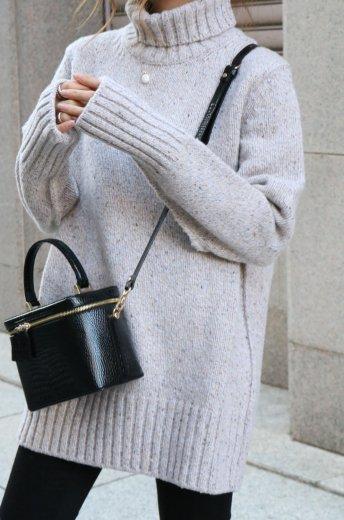 turtle neck melange wool knit tops / beige