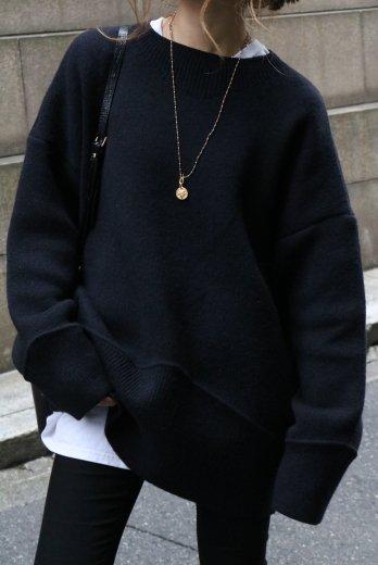 big silhouette crew neck wide rib cut design knit tops