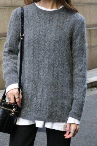 【vintage】Yves Saint Laurent / YSL logo embroidery glitter mohair knit tops
