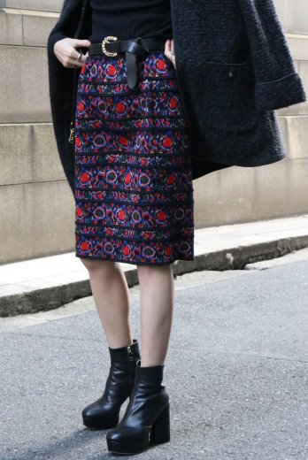 【vintage】Yves Saint Laurent / patterned all over tiered wool knit skirt