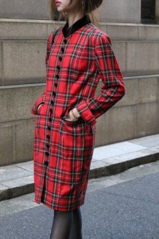 【vintage】90's stand collar tartan check pattern button down dress