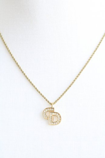 【vintage】Christian Dior / linestone CD logo pendant top chain necklace