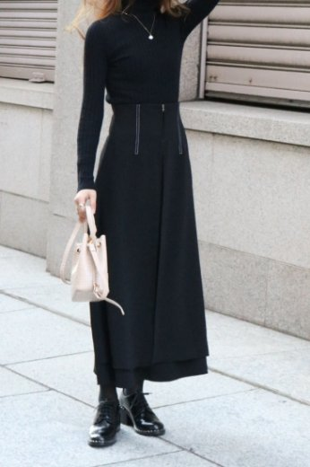 high waist front open layered flare skirt / black