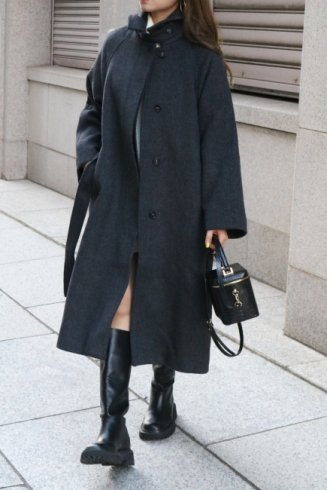 convertible soutien collar wool coat / gray