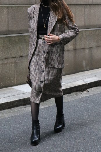 【vintage】GIVENCHY / tailored jacket & button down straight skirt tweed set up