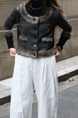 【vintage】FENDI / fleece wool piping no collar compact knit jacket