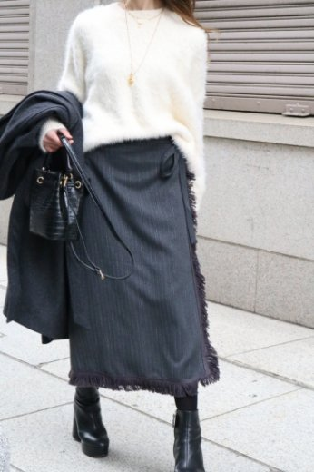 fringe piping wrap like tight skirt / gray