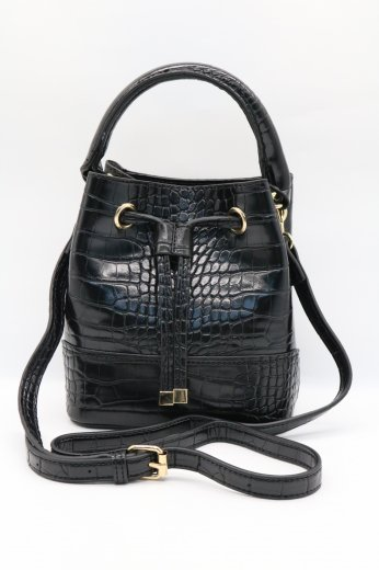 2way croco synthetic leather purse shoulder bag / black
