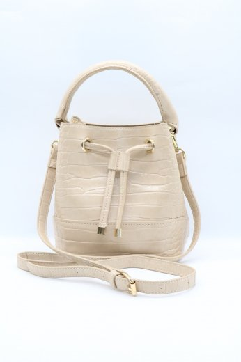 2way croco synthetic leather purse shoulder bag / beige
