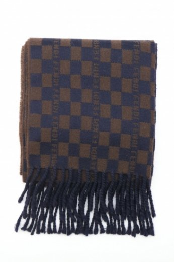 【vintage】FENDI / checker & monogram fringe wool muffler