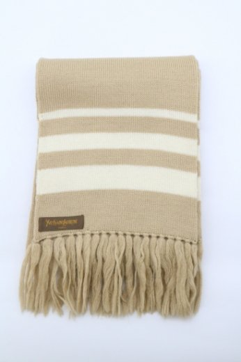 【vintage】Yves Saint Laurent / stripe design fringe long muffler