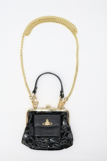 【vintage】Vivienne Westwood / 3way croco embossing chain shoulder frame purse mini bag