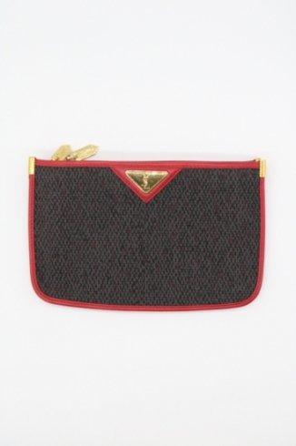 【vintage】Yves Saint Laurent / YSL logo plate double compartment pouch