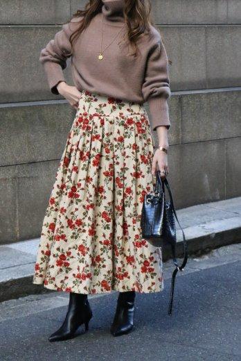 【vintage】KENZO / floral pattern corduroy yoke skirt
