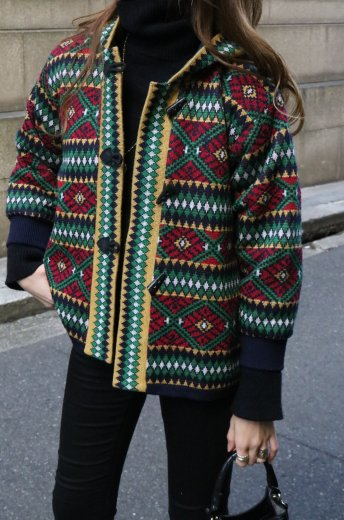 【vintage】Yves Saint Laurent / toggle button ethnic pattern knit hoodie jacket