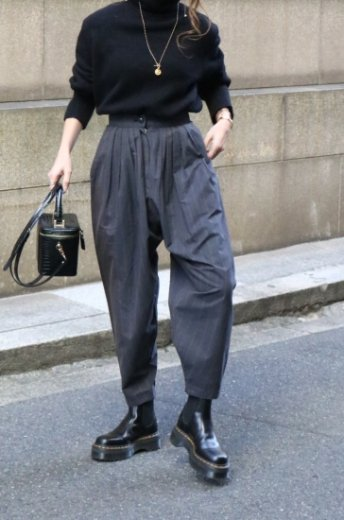 【vintage】KENZO / high waist stripe pattern tucking balloon pants