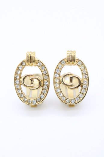 【vintage】Christian Dior / CD logo line stone decoration oval earrings