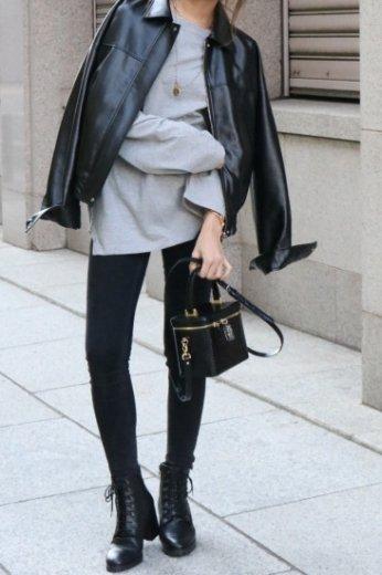front zip up fake leather jacket / black